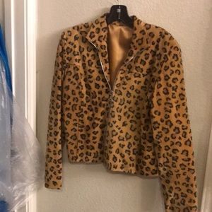 Suede animal print jacket